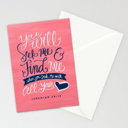 Seek Me With All Your Heart Stationery Cards