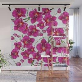 Fuchsia Pink Moth Orchids Wall Mural