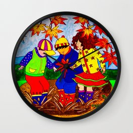 Splashy Puddle Jumpers Wall Clock