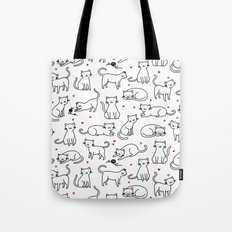 Kitties with Hearts Tote Bag