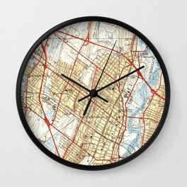 Vintage Map of Hackensack NJ (1940) Wall Clock