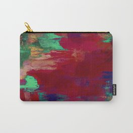 Crimson Overflow - Abstract, red, crimson, green, purple oil painting Carry-All Pouch
