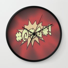 Mild profanity RETRO RED / Cartoonish anger Wall Clock