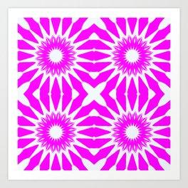 Hot Pink & White Pinwheel Flowers Art Print
