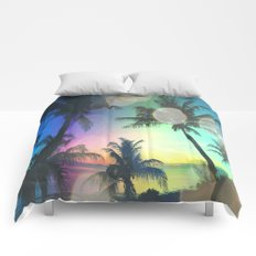 Summer Dreams : Pastel Palm Trees Comforters