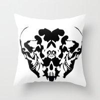 rorschach Throw Pillows featuring Rorschach  by yayanastasia