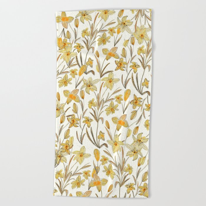 Yellow Floral Pattern Beach Towel