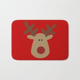Christmas Reindeer-Red Bath Mat