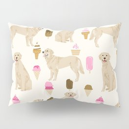 Golden Retriever dog breed pet portrait ice cream custom pet illustration by pet friendly Pillow Sham