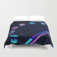 ferris wheel Duvet Covers featuring Ferris Wheel Pink Blue Aqua by WhimsyRomance&Fun
