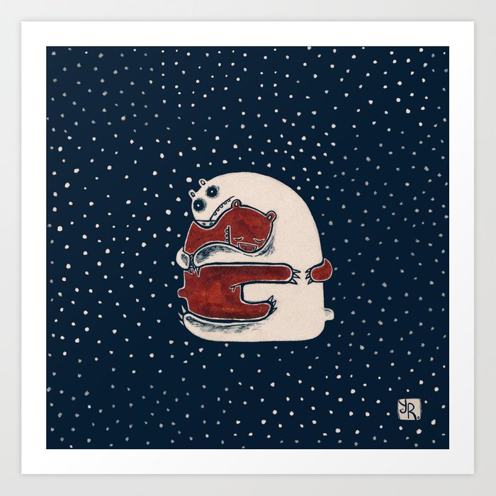 Cuddly Winter Bears Art Print