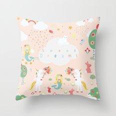 Sweet Dreams Print, portrait. Throw Pillow