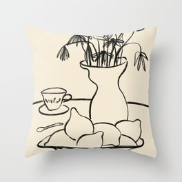 LEMONS AND FLOWERS Throw Pillow