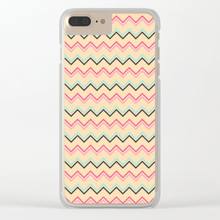 Pink And Blue Chevron Geometric Pattern Clear iPhone Case