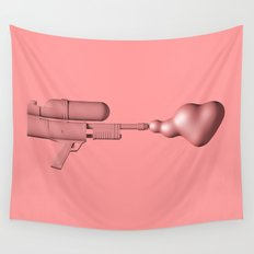 Bubble Gum Gun - Make Love Not War Wall Tapestry