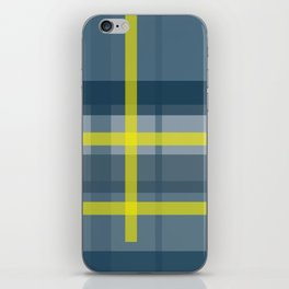 Blue and yellow plaid pattern iPhone Skin