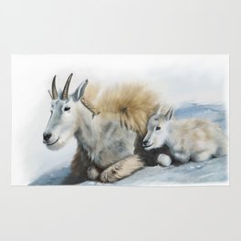 goat snow and cub Rug