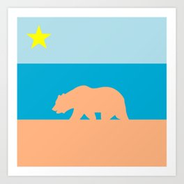 Cali Beach Flag Art Print