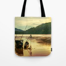 Sunset over the Mekong River Tote Bag