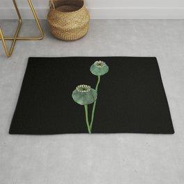 Seasons K Designs Poppy Pod Print on Black Rug