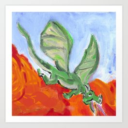 Fire Breathing Dragon Art Print