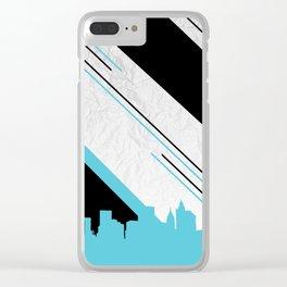 Diagonal Blue Clear iPhone Case