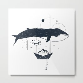 Whale In Space. Double Exposure. Geometric Style Metal Print