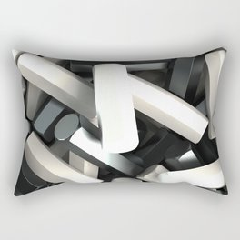 Pile of black and white hexagon details Rectangular Pillow