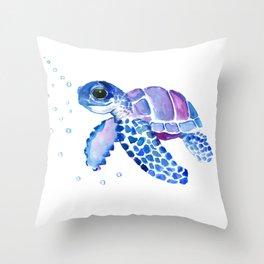Blue Purple Sea Turtle, Turtle for nursery Throw Pillow