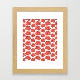 Block Cut Retro NZ Fantail Pattern Framed Art Print