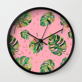 Monstera Gold // Monstera Pattern, Gold Foil Pattern, Lifestyle Digital Collage Pink Wall Clock