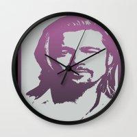 brad pitt Wall Clocks featuring Brad Pitt by Dora Birgis
