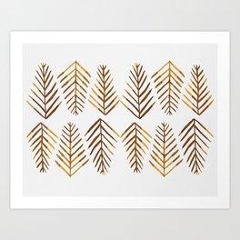 Watercolor Pine trees - amber Art Print