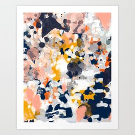 Stella - Abstract painting in modern fresh colors navy, orange, pink, cream, white, and gold Art Print