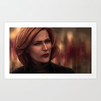 dana scully Art Prints featuring Special Agent Dana Scully by Celina Hulshof