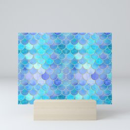 Aqua Pearlescent & Gold Mermaid Scale Pattern Mini Art Print