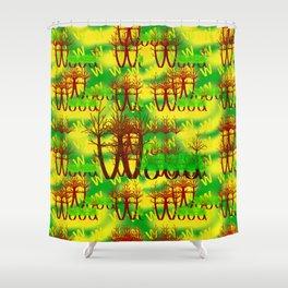 W - pattern wood 1 Shower Curtain
