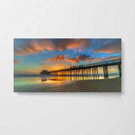 Low Tide Sunset at Newport Pier Metal Print