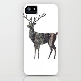 deer silhouette stag black bark with lichen iPhone Case