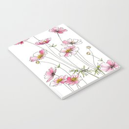 Pink Cosmos Flowers Notebook