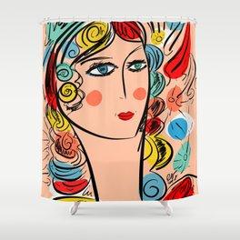 Nissa Girl Carnaval Portrait French Art Illustration Shower Curtain