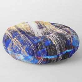 Golden Dawn, Abstract Landscape Art Floor Pillow