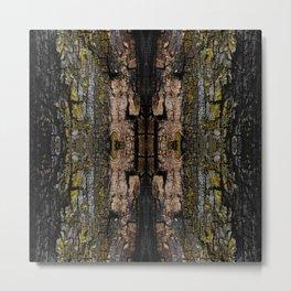 Cool Brown mossy wood bark yellow lichen pattern Metal Print