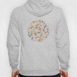 Autumn Woodsy Floral Forest Pattern With Foxes And Birds Hoody