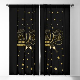 New Year, 365 New Possibilities, Fireworks, Champagne Blackout Curtain