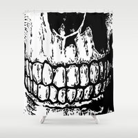 teeth Shower Curtains featuring Teeth by Mike Hague Prints