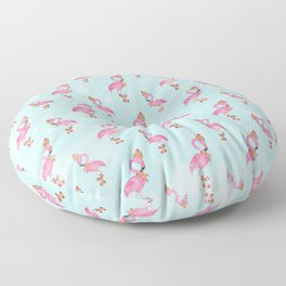 From Flamingo Birds And Christmas-Cute teal XMas Pattern Floor Pillow