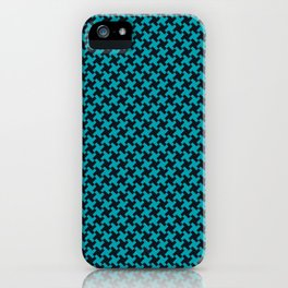 Houndstooth Black & Teal small iPhone Case
