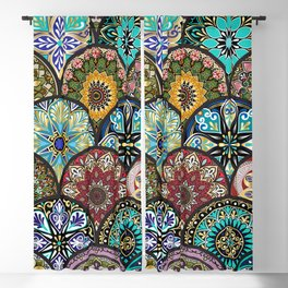 Colorful floral seamless pattern from circles with mandala in patchwork boho chic style Blackout Curtain