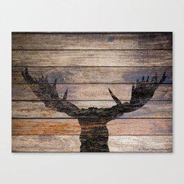 Rustic Black Moose Silhouette A424b Canvas Print